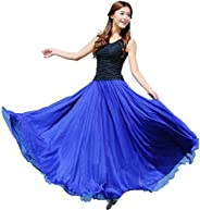 Fankle Women's Chiffon Maxi Skirt Elastic Waist Solid Lady Girls Long Maxi Beach Full Length Flowy Skirt D