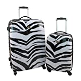 Swiss Case 4 Wheels Hard 2Pc Suitcase Set Zebra