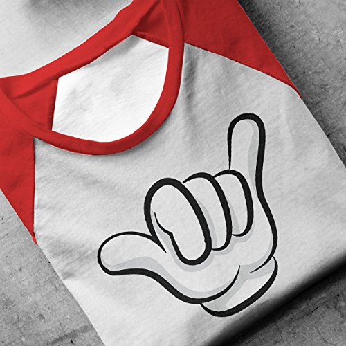Disney Mickey Mouse Hands Hang Loose Sign Men's Baseball Long Sleeved T-Shirt White/Red