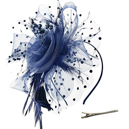 (DRESHOW Fascinators Mesh Net Federn Schleier Party Stirnband Blume Derby Hut und ein Clip Tea Partei Headwear für Mädchen und Damen)
