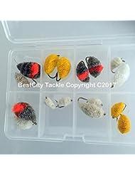 Lot de 16 mouches pour pêche à la carpe, à la truite et au rouget imitation pain avec coffret Taille 4 - 12