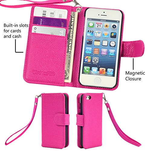 iPhone 6s Plus / 6 Plus Hülle, Wisdompro® Premium PU-Leder 2-in-1 [Folio Flip Wallet] Schutzhülle mit Kreditkartenhaltern / Steckfächern für Apple iPhone 6s Plus / 6 Plus (schwarz) Hot Pink mit Trageschlaufe