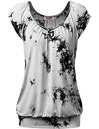 DJT Damen Casual Tunika Kurzarm Langarm T-Shirt Falten Tops mit Stretch  V-ausschnitt a52d25af0b