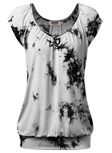 DJT Damen Casual Tunika Kurzarm T-Shirt Falten Tops mit Stretch V-Ausschnitt Tie-Dye Grau-Schwarz L