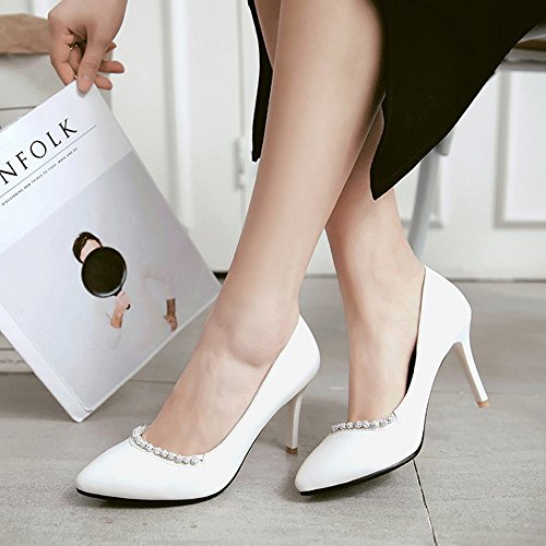 Mee Shoes Damen elegant high heels spitz Pumps Weiß