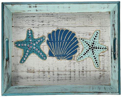 DEI Shell geschnitzt Holz Tablett - Holz Geschnitzt Shell