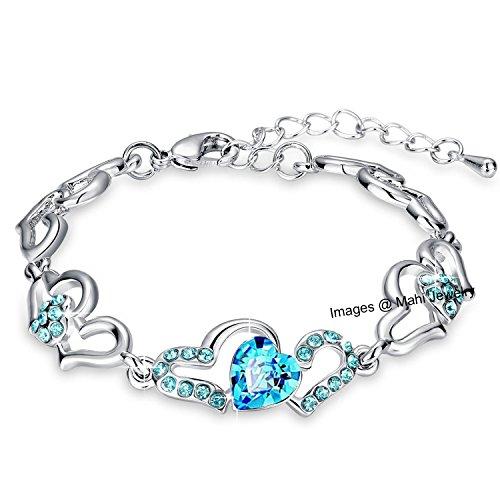 Oviya Rhodium Plated with Glittering Crystal Strand Bracelet for Women BR2100277RBlu