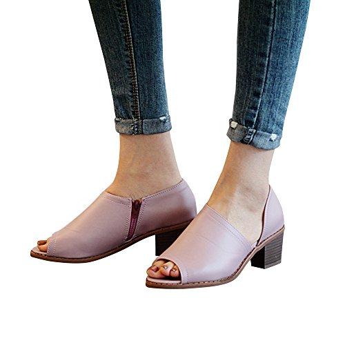 MObast Chaussure Femme Sandales Femme Chaussure Femme Pas Cher Surface en Cuir Chaussure CompenséE Peep Toe 5Cm Fermeture éClair Sandales CompenséEs Mode Casual