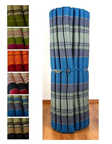 Kapok Liegematte der Marke Asia Wohnstudio, 200cm x 110cm x 4,5cm; Rollmatte bzw. Yogamatte, Thaimatte, Thaikissen als asiatische Rollmatratze