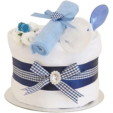 Signature Blu singolo Tier Boys Baby Shower torta di pannolini/Cesto regalo idee/maternità/nuovo bambino regalo/spedizione (Torta Set Decoration)