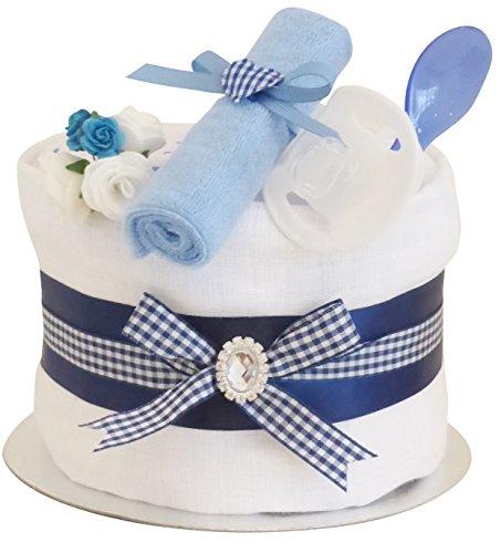 Signature Bleu Gâteau de couches étagère simple garçons/Panier/Baby Pour Bébé Douche cadeau idées/maternité Laisse/nouveau bébé cadeau/envoi rapide