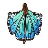 FNKDOR Fasching Kostüm Schmetterling Damen Mädchen Flügel Fee Nymphe Elfen Flügel (168 * 135CM, Blau-A)