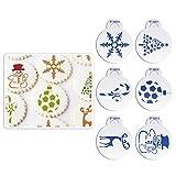 Dekor-Schablonen ST-920S von AK Art Kitchenware, Set, für Weihnachtskekse, Zuckerguss, verschiedene Designs, zum Dekorieren von Backwaren, Kunststoffschablone, Backutensil, 6-teilig