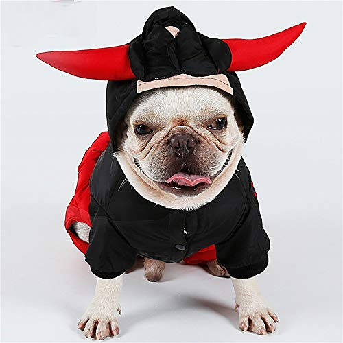 Black Schwanz Kostüm Devil - Haustier-Kleidung Halloween-Winter-Verdickung Vierbeinige Kleidung Cow Devil King Lovers Loaded Pets Weihnachten Halloween Funny Costumes (Color : Black, Size : S)