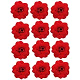 Evisha 12 Pcs Small Size Fabric Red Rose Artificial Flower for Art and Craft, Gift Packaging