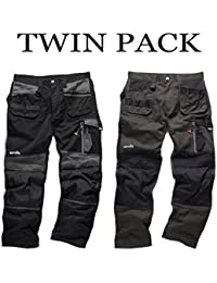 Scruffs Lot de 2 pantalons de travail en Cordura 3D Genouillères, noir