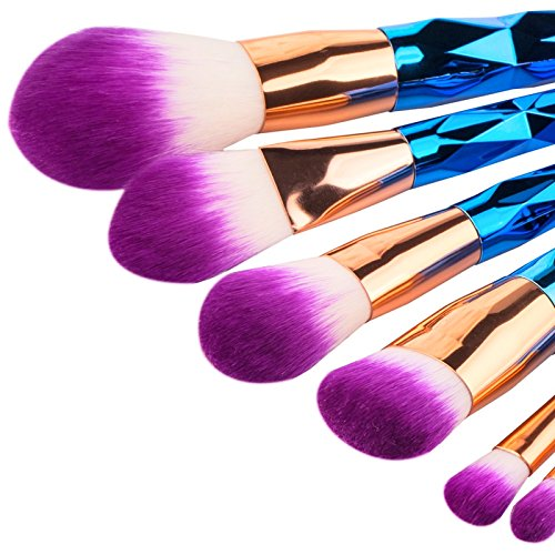 Kabuki Professional Make Up Brush Set Unicorn Rainbow with Synthetic Hair (angled, round, flat, flat angled, tapered brushes) 7 Pieces by Mystic Orchid. Foundation, Blending, Blush, Concealer, Eye, Face, Liquid Powder, Cream Cosmetics Makeup Brushes