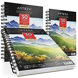 Arteza 3 blocs de papier aquarelle 300 g/m2   Chaque carnet aquarelle 13,9 x21,6 cm   3 x 30 feuilles   Papier blanc pressé à froid   Pour peinture humide, sèche et techniques mixtes