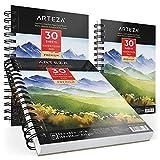 ARTEZA Aquarellblock | 13,9cm x 21,6 cm | 3er Packung | 30 Blätter Pro Malblock | Weißes Malpapier für Wasserfarben und Gemischte Malmedien