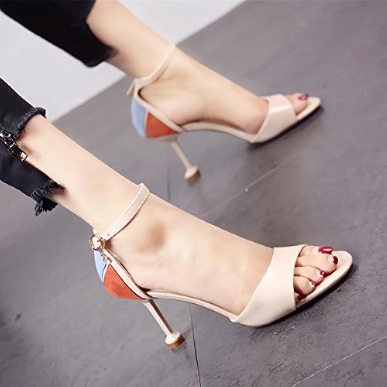 YMFIE Verano nuevo dedos finos zapatos de tacón alto gamuza lady's elegancia sandalias de tacón,37 UE,c -