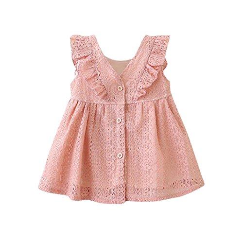 ongff Mädchen Spitze Kleid Rüschen Prinzessin Kleider Taste Hohl Kleid Kleidung Festlich Party Kleid Abendkleider Baby Kleider Outfits Kinderbekleidung (70-12M, Rosa) (Rosa Kleid Weiße Schuhe)