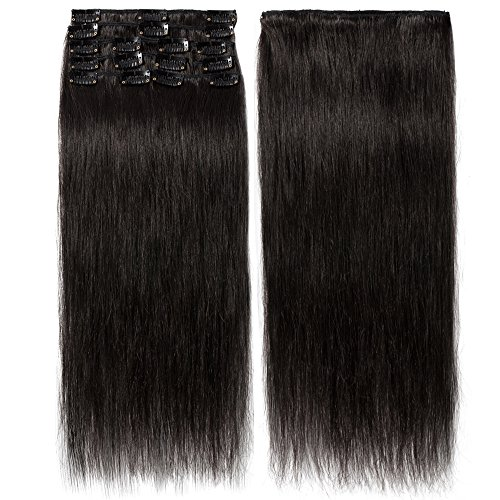 Hair extension capelli vere nere clip 8 fasce remy human hair lisci lunga 18 pollici 45cm pesa 70g allungamento, 1b nero naturale