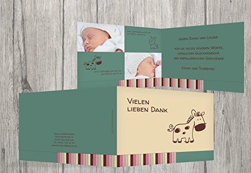Kartenparadies Danksagung für Geburt Baby Dankeskarte Zwillinge Retro, hochwertige Danksagungskarte Baby inklusive Umschläge | 30 Karten - (Format: 148x105 mm) Farbe: TürkisGrauMatt