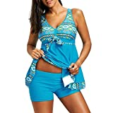 Meedot Damen Tankini Set Two Piece Schwimmanzug Badeanzug V-Ausschnitt Oberteile + Kurz Swimwear Große Größen Bademode Strandmode Badebekleidung Blau XXL