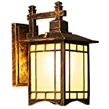Outdoor Wasserdichte Wandlampe Vintage Außenwandleuchte Aluminium Glas Lampenschirm Innen Aussen Laterne Wandleuchte E27 Gartenlampe Beleuchtung IP44 (Gemalt mit Öl gerieben Bronze)