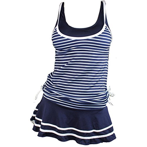 Eagsouni® Damen Tankini Bikini Set Marine Streifen Retro Badeanzug mit Rock (Badeanzug Marine-bikini)
