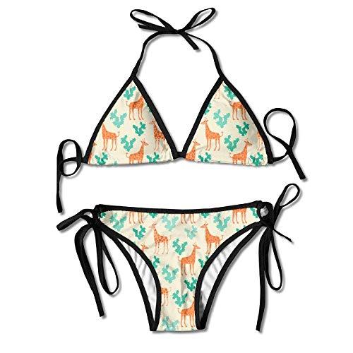 Miedhki Giraffes Cactus Vector Womens Triangle Top Bikini Swimsuit Sliding Swimwear -