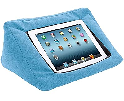 iPad Compatible Cushion Pillow Stand Holder (Blue) Suitable for all Tablet devices. Perfect to use around the home for comfy ipad viewing.