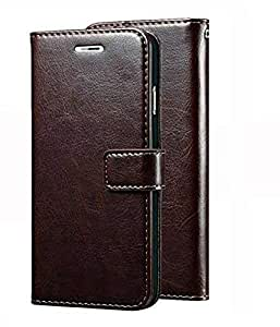 Superior Leather Wallet Flip Book Cover Case for Real Me 2 Pro - (Coffee)