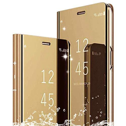 DAYNEW Funda para XiaoMi Mi MAX 3,XiaoMi Mi MAX 3 Funda Desmontable Ultra-Delgado,360 °Protection Inteligente Espejo Brillante tirón del Caso Duro para XiaoMi Mi MAX 3-Oro