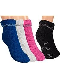Vitasox Damen Socken Kuschelsocken Damensocken Wintersocken einfarbig bunt Stoppersocken mit Hirsch-ABS 4er Set