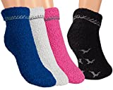 Vitasox 14478 Damen Socken Kuschelsocken Damensocken Wintersocken einfarbig bunt Stoppersocken mit Hirsch-ABS 4 Paar 35/38