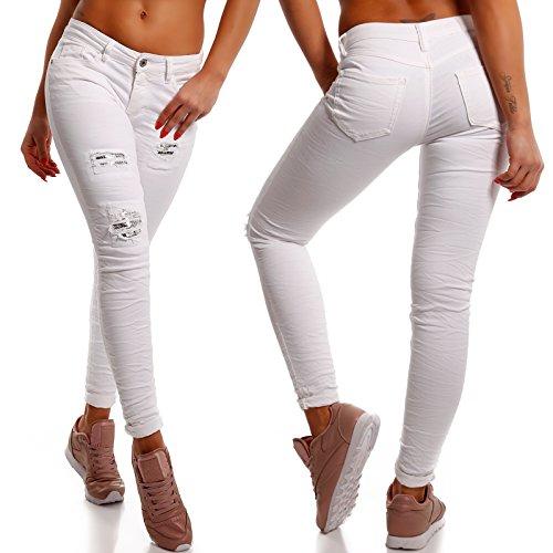 Damen Skinny Pailletten Jeans Slim-Fit Regular Waist Destroyed Weiß