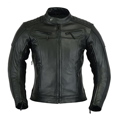 Giacca in pelle da motociclista corazzata di colore nero, mod. PH-04.