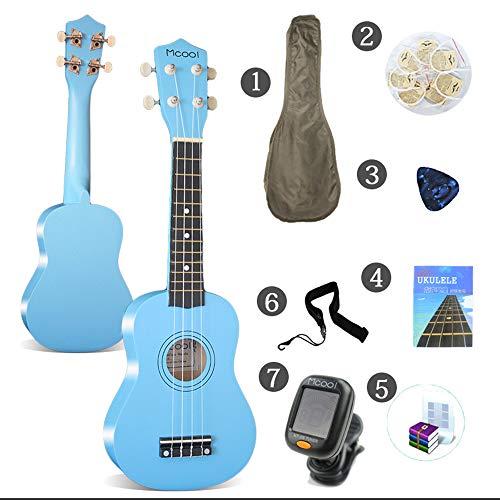 LCDY Ukulele Guitarra de 21 Pulgadas Entrada De Ukelele para Guitarra Principiante Estudiante Adulto Guitarra Pequeña,Blue,58 * 21 * 8CM