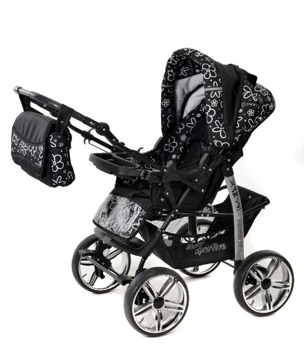 3-in-1 Travel System with Baby Pram, Car Seat, Pushchair & Accessories, Black Flowers
