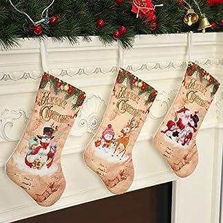 QKURT – Juego de 3 Calcetines navideños de Papá Noel, muñeco de Nieve y Reno de 12 Pulgadas