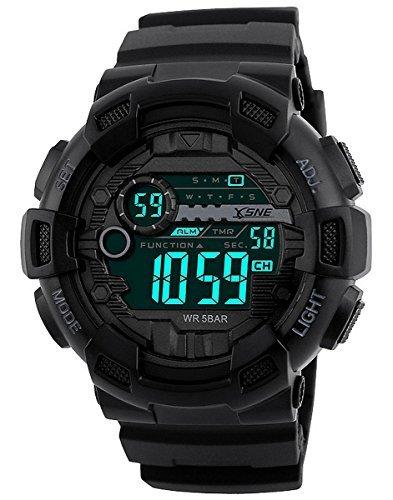 Digital Sport Armbanduhr Wasserabweisende Outdoor Dual Time Große Zahl 12H/24h Time Herren 's Boy 's schwarz 1243