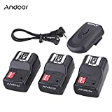 #6: Andoer 16 Channel Wireless Remote Flash Trigger Set 1 Transmitter + 3 Receivers + 1 Sync Cord for Canon Nikon Pentax Olympus YOUNGNUO Speedlite