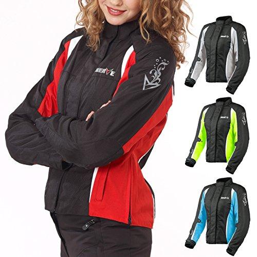 Motorradjacke -Unique-Motorrad Damen Wasserdicht Jacke mit Protektoren Sommer Winter Textil Frauen - schwarz-rot - 46