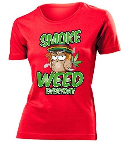 Drogen - SMOKE WEED EVERYDAY - Cooles Fun T-Shirt Donna Maglietta Taglia S to XXL vari colori Rosso