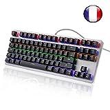 Clavier Mécanique Gaming Filaire USB 88 Touches avec Raccourcis Médias et Rétro-éclairage Luminosités 6 Couleurs Française AZERTY-Layout Bleu Switch