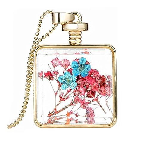 Collier en verre pendentif à la croix de fleurs pressée N010-04