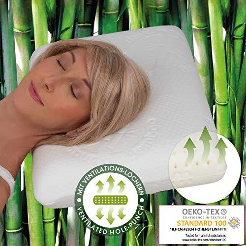 daydream Memory Foam Kopfkissen + Lüftungskanäle + Bambusbezug (P-11200) 50x35x10 cm | Testsieger | für 80x40 Bezug | Kissen | Kopfkissen | Schlafkissen | Bettkissen | Nackenkissen | Nackenstützkissen