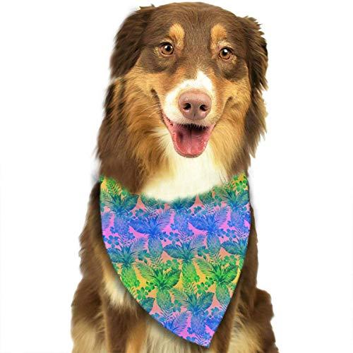 Wfispiy Tropische Blumen und Blätter Muster Double Cotton Puppy Bandana Lätzchen Dreieck Schals Halstuch Bejeweled Tier