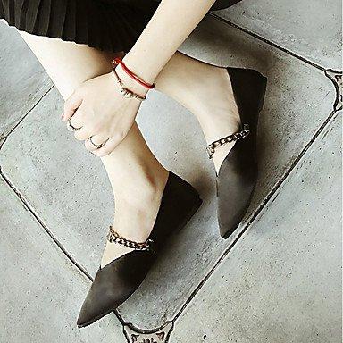 SHOESHAOGE Chaussures Femmes De Confort Appartements Automne Pu Talon Plat Chaussures Vert Noir Robe Pour Chaîne Black